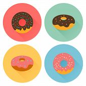 pic of flavor  - Four tasty flavored donuts with glazing - JPG