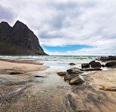 pic of lofoten  - Picturesque sandy beach Klavika on Lofoten islands in Norway on  summer day - JPG