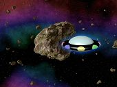 image of plasmatic  - UFO in outerspace with asteroid texture or background - JPG