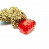 image of marijuana  - Marijuana and Hard Candy Containing Medical Marijuana THC - JPG