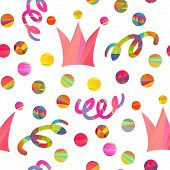 stock photo of pageant  - seamless pattern with carnival crown - JPG