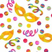 foto of pageant  - seamless pattern with carnival masks different forms and color stripes confetti - JPG