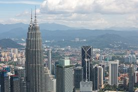 stock photo of kuala lumpur skyline  - City skyline panorama in Kuala Lumpur - JPG