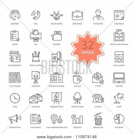 Set of Office Items Icons