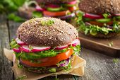 Постер, плакат: Healthy Fast Food Vegan Rye Burger With Fresh Vegetables