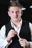 Young Man Play Pro Billiard Game