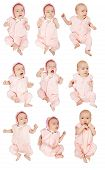 stock photo of babygro  - Set of 9 little baby girl - JPG