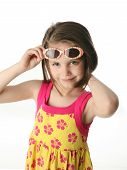 Young Girl With Sunglasses In Studio