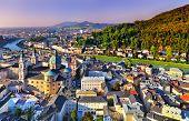 Aerial View Of The Historic City Of Salzburg, Salzburger Land, Austria poster