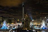 Trafalgar Square, London, England, Uk, At Night, With Norwegian Christmas Tree.