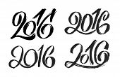 Постер, плакат: New Year 2016 hand lettering design set