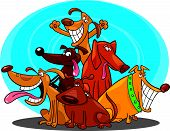 pic of hairy tongue  - cartoon vector illustration of funny dogs group - JPG