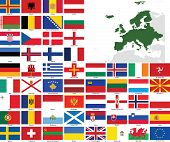 Europe Vector Flags And Maps