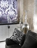 Living Room Coach Black Sofa Silver Furniture