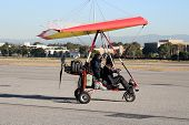 image of ultralight  - ultralight experimental airplane on the ground at airport - JPG