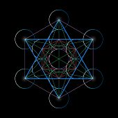 Metatrons Cube. Basics Of Sacred Geometry, Vector Illustration. poster