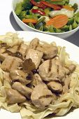 Chicken Marsala With Vegetables And Linguine