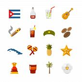 Flat Color Isolated Cuba Icons poster
