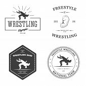 Set of sport signs. Wrestling theme. poster