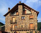 Pyrenees Stone Houses In Anso Valley Huesca