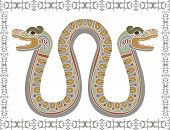 Traditional Aztec snake with two heads
