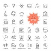 Set of Office Items Icons poster