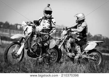 Moto bikers driving