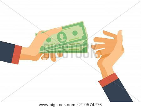 Hands hold cash