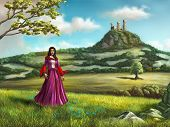 Young princess walking in a beautiful country landscape. A castle overlooks the scene from a nearby