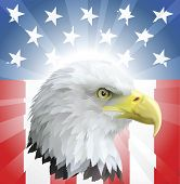 stock photo of eagle  - A background featuring American eagle and stars and stripes background - JPG