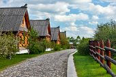 Traditional Russian Wooden Houses In Spring.