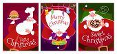 Постер, плакат: Three Christmas Cards With Santa Claus