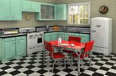 stock photo of formica  - Retro kitchen from the 1950s complete with stove refrigerator chrome dinette set percolator toaster bread box and radio - JPG