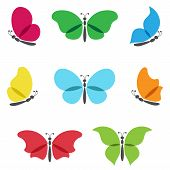 Colorful butterflies set.