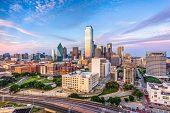 Dallas, Texas, USA downtown city skyline. poster