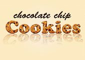 image of chocolate-chip  - The word cookies cut out of chocolate chip cookies with a nice serene background - JPG