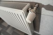 white heating radiator under in the room poster