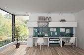 Workstations in furnished bright room with wooden parquet. 3d rendering poster