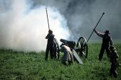 stock photo of yanks  - Artillery fires their gun during civil war re enactment - JPG