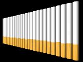 stock photo of marlboro  - A row of filtered cigarettes in black background - JPG