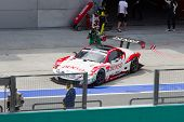 Lexus team sard exits pit at the Malaysian SuperGT race