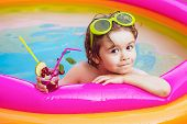 Summer Holidays And Vacation Concept. Children Playing And Active Leisure - Swimming Pool Concept. C poster