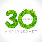 30 Th Anniversary Numbers. 30 Years Old Logotype. Age Congrats, Congratulation Idea With Leaves. Iso poster