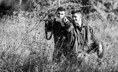 Hunting With Friends Hobby Leisure. Hobby For Real Men Concept. Hunters With Rifles In Nature Enviro poster