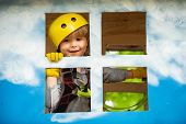 Cargo Net Climbing And Hanging Log. Helmet And Safety Equipment. Child Boy Having Fun At Adventure P poster