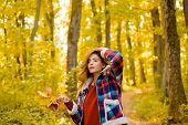 Autumn Woman In Autumn Park With Red Pullover. Autumn Girl. Art Work Of Romantic Girl. Warm Sunny We poster