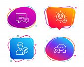 Cogwheel, Comment And Edit Person Icons Simple Set. Dating Sign. Idea Bulb, Talk Bubbles, Change Use poster
