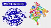 Service Montenegro Map And Blue Best Value Textured Seal Stamp. Colored Vector Montenegro Map Mosaic poster