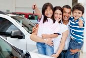 foto of car key  - Family holding keys to their new car at the dealer - JPG
