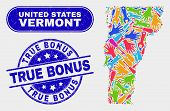 Construction Vermont State Map And Blue True Bonus Distress Seal Stamp. Colored Vector Vermont State poster